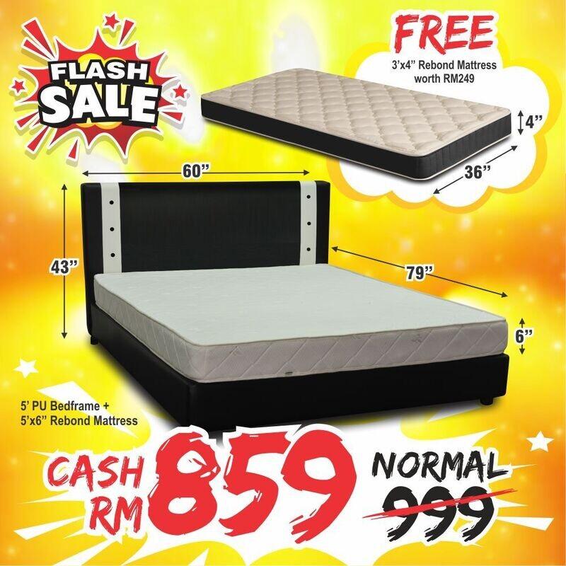 [EXTRA FREE 3FT MATTRESS]  Full Bed Set (Queen Bedframe + 6inch Mattress)