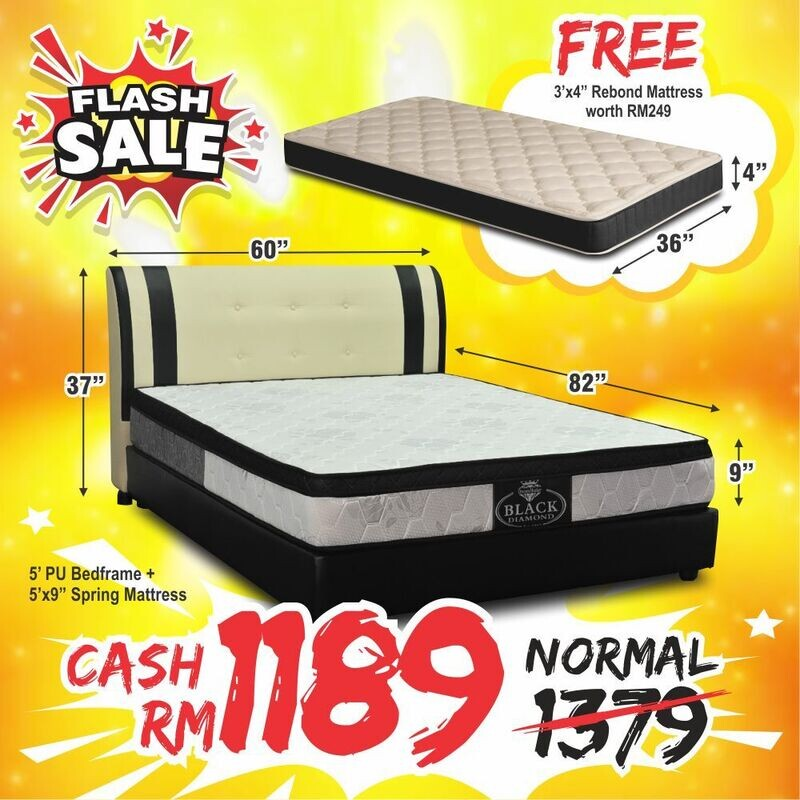 [EXTRA FREE 3FT MATTRESS] Full Bed Set (Nana Queen Size Bed Frame + 9inch Queen Size Black Diamond Spring Mattress)