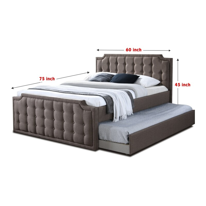 Queen (Top) and Single Pull-out Fabric Bedframe (without mattress)
