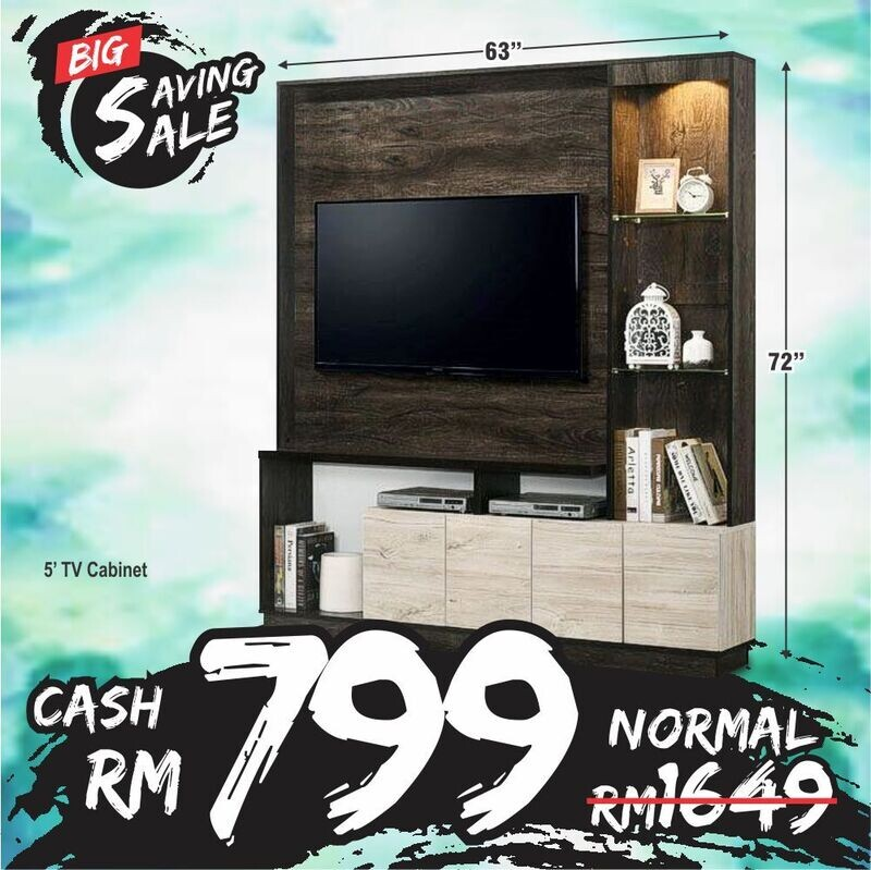[2 in 1 Combo] 5ft Wall TV Cabinet