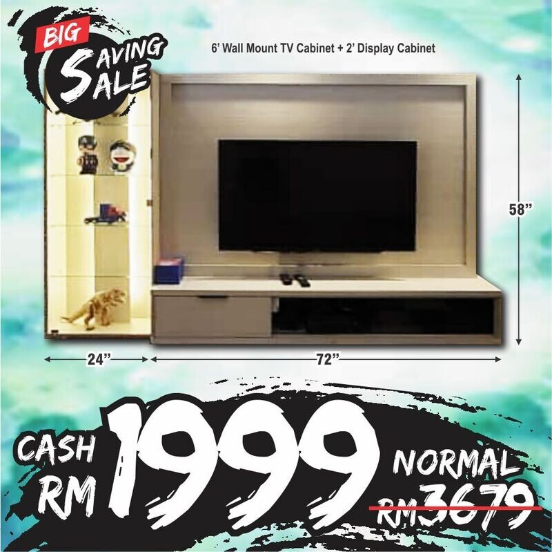 [2 in 1 Combo] 6ft Wall TV Cabinet + 2ft Display Cabinet