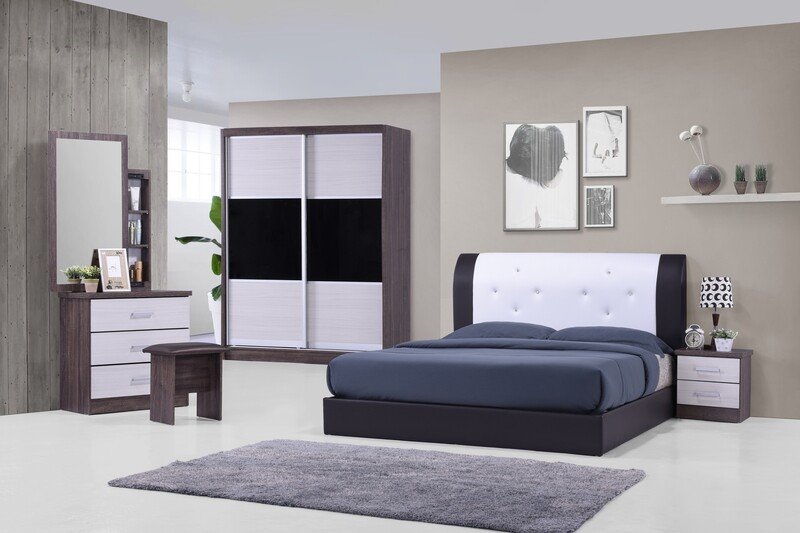 Bedroom Set (5ft Sliding Wardrobe + Queen size Bed frame + Dressing Table + Stool + Side Table)