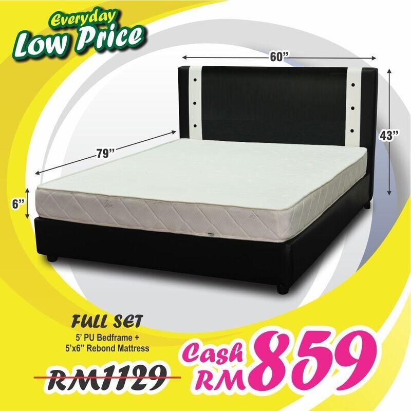 Full Bed Set (Queen Bedframe + 6inch Mattress)