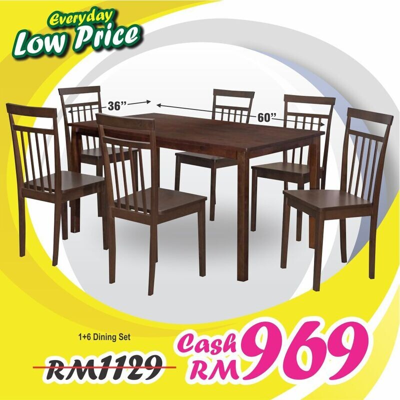 1+6 Wooden Dining Table