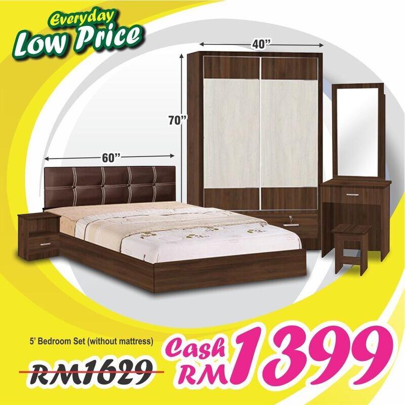Bedroom Set (3 Door Wardrobe + Queen size Bed frame + Dressing Table + Stool + Side Table)