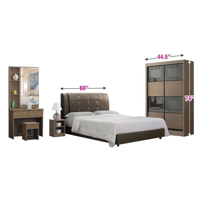 Bedroom Set (4ft Sliding Wardrobe + Queen Bedframe + Dressing Table + Side Table)