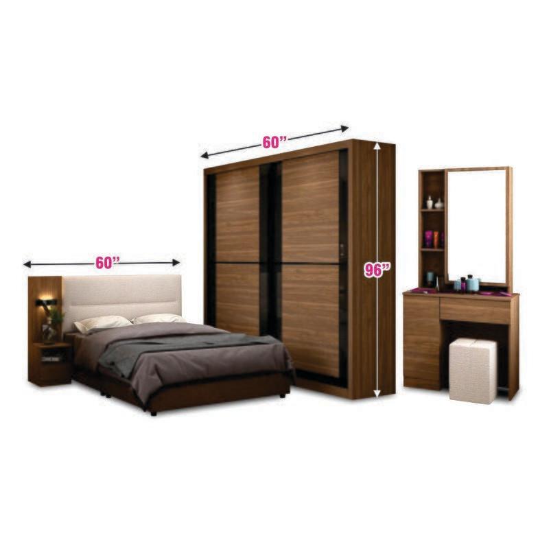 Bedroom Set (5ft Sliding Wardrobe + Queen Bedframe + Dressing Table + Side Table + Stool)