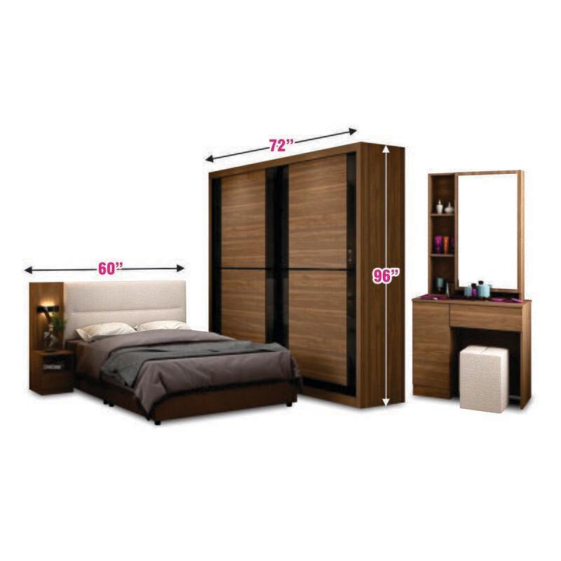 Bedroom Set (6ft Sliding Wardrobe + Queen size Bed frame + Dressing Table + Side Table)