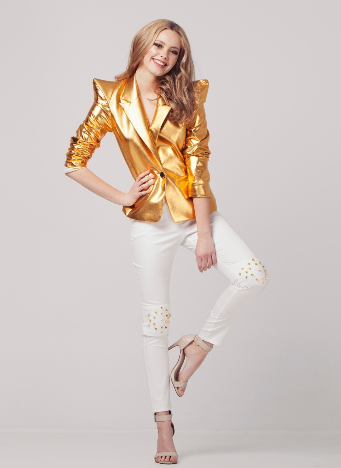 GOLD METALLIC BLAZER
