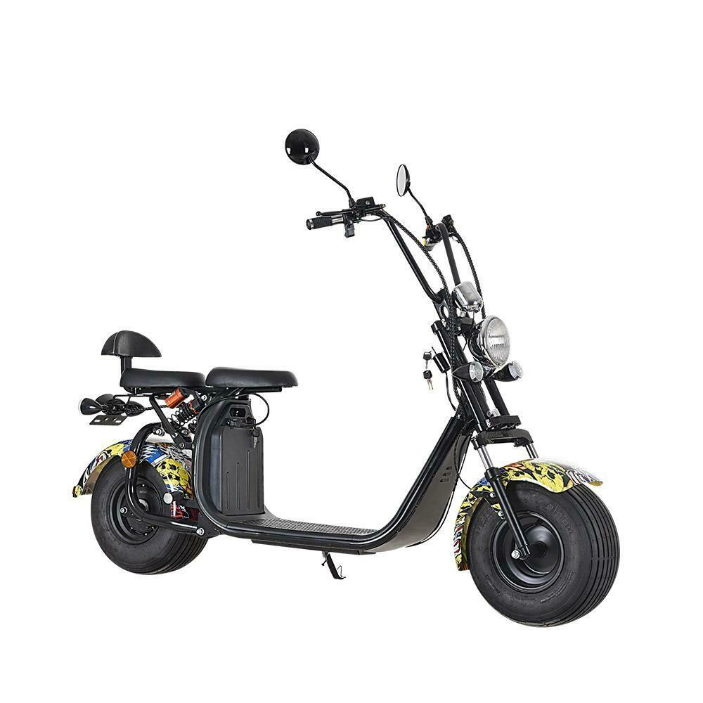 Scooter électrique City Coco Cool - Deux places - homologué route avec carte grise - Graffiti