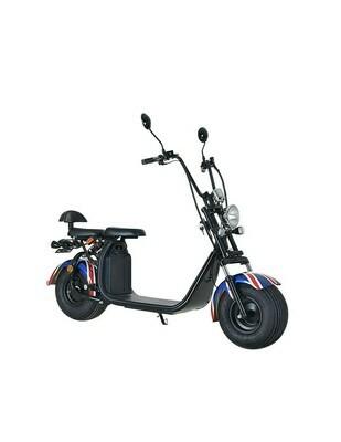 Scooter électrique City Coco Cool - Deux places - homologué route avec carte grise - Drapeau UK