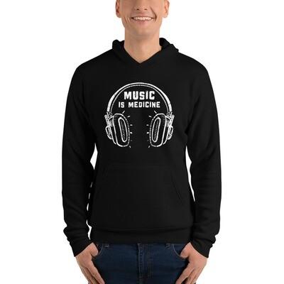 Music Is Medicine. White Logo. Unisex Hoodie.
