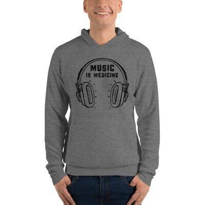 Music Is Medicine. Black Logo. Unisex Hoodie.