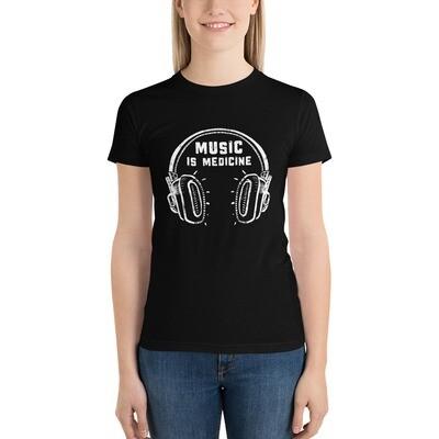 Music Is Medicine. White Logo. Women's T-Shirt.