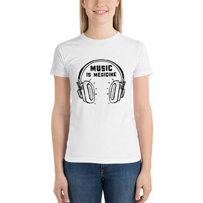 Music Is Medicine. Black Logo. Women's T-Shirt.