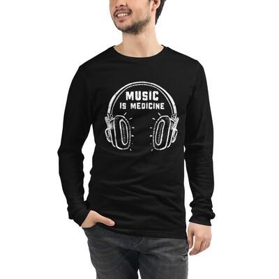 Music Is Medicine. White Logo. Unisex Long Sleeve T-Shirt.