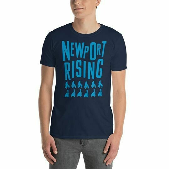 Newport Rising T-Shirt - Blue / Navy 'torches for democracy'