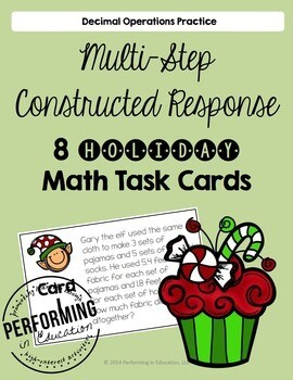 Multi-step Constructed Response Decimal Task Cards for Holidays / Christmas