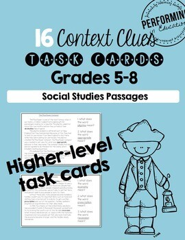 Context Clues Practice Task Cards Grade 5th 6th Social Studies