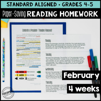 February Reading Homework for 4th & 5th PAPER SAVING Presidents