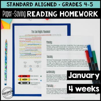 January Reading Homework for 4th & 5th PAPER SAVING MLK
