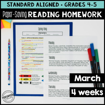 March Reading Homework for 4th & 5th PAPER-SAVING color text-based evidence