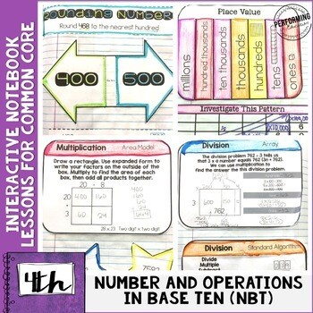 Interactive Math Notebook 4th Grade Numbers & Operations in Base Ten NBT