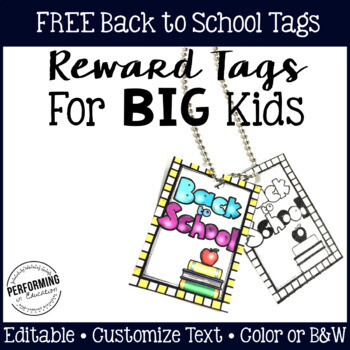 Reward Tags for Big Kids: Back to School Classroom Management Freebie