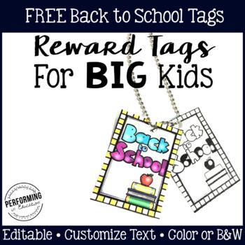 Reward Tags for Big Kids: Back to School Classroom Management Freebie