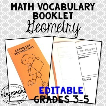 Geometry Vocabulary Booklet: EDITABLE Vocabulary Resource for 3rd, 4th, and 5th