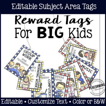 Reward Tags for Big Kids: Subject Area Reward Tags