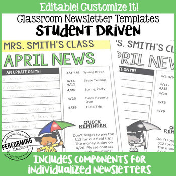 Monthly Newsletter Template Editable STUDENT-DRIVEN 3rd, 4th, and 5th grade