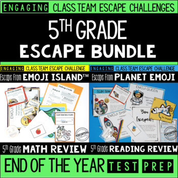 Test Prep Escape Room for 5th Grade Bundle: Reading & Math Challenges