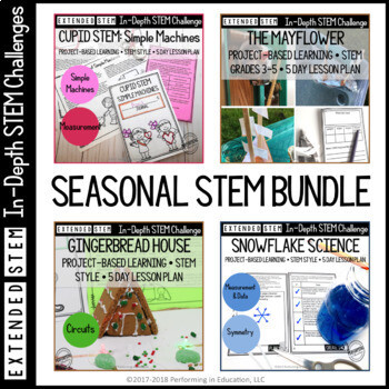 Extended Seasonal STEM Project-Based Learning Bundle for Grades 3, 4, and 5