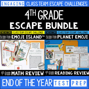 Test Prep Escape Room for 4th Grade Bundle: Reading & Math Challenges