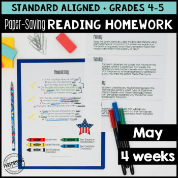 May Reading Homework for 4th & 5th Memorial Day, Mother's Day PAPER-SAVING