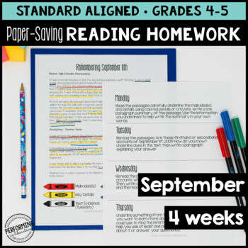 September Reading Homework for 4th & 5th PAPER-SAVING color text-based evidence