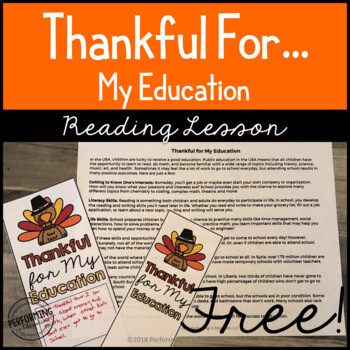 Thankful for My Education Mini-Lesson & Bookmarks | Grades 4 & 5