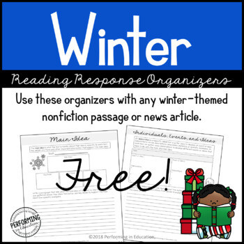 Winter Reading Comprehension Response Organizers | Grades 4 & 5
