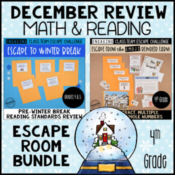 4th Grade Winter Escape Room | Reading and Math Review Bundle
