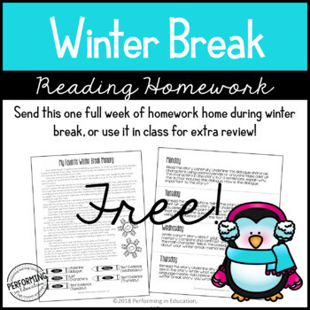 Free Winter Break Reading Homework Packet (Paper Saving) | 4th & 5th Grade