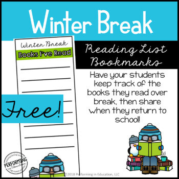 Free Winter Break Reading List Bookmarks | Grades 3-5