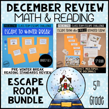 5th Grade Winter Escape Room | Reading and Math Review Game Bundle