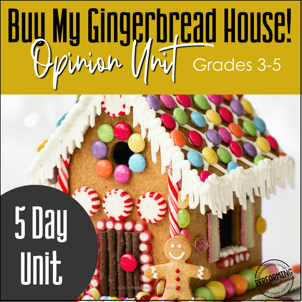 December Writing Activities | Gingerbread House Opinion Writing