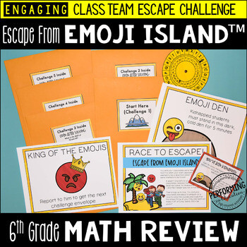 6th Grade Math Test Prep Escape Room Game | End of Year Review
