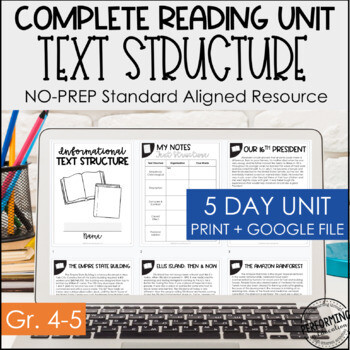 Text Structure Digital & Print Reading Packet | Distance Learning Google 4th 5th