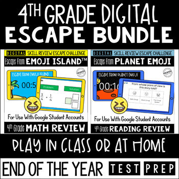 Digital Escape Room Math and Reading Review End of Year | 4th Grade Bundle