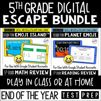 Digital Escape Room Math and Reading Review End of Year | 5th Grade Bundle