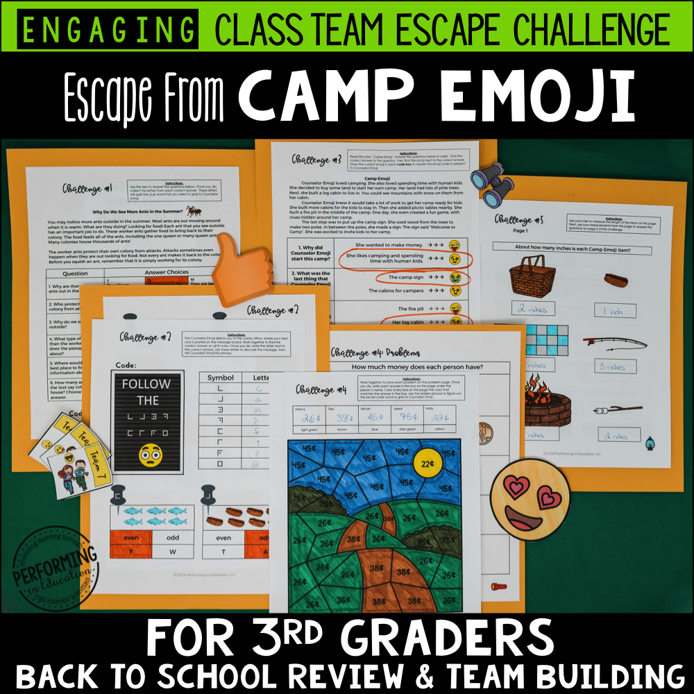 3rd Grade Back to School Escape Room (Last Year's Standards Review)