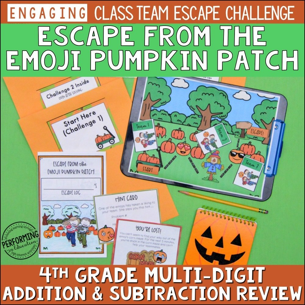 4th Grade Multi-Digit Addition & Subtraction | Pumpkin-Themed Fall Escape Game